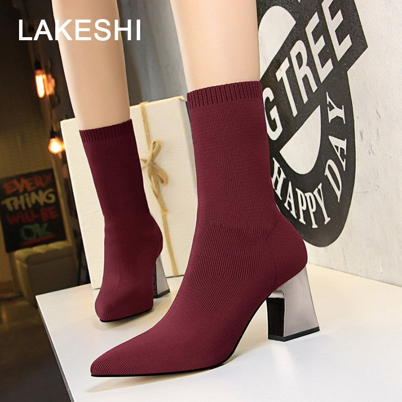 habazoo - Women Boots New High Heels Shoes Pointed Toe Sexy Short Boots Fashion Mid Calf Ankle Boots Stretch Socks Boots - Habazoo -