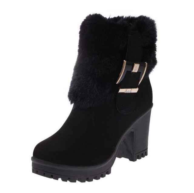 habazoo - Ankle Boots For Women Boots Winter Warm Fur Boots Women's Suede Snow Boots Thick High Heel Round Toe - Habazoo -