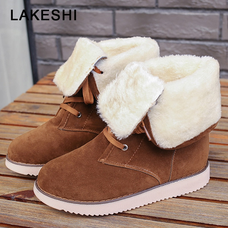 habazoo - Women Boot Fur Warm Snow Boots Female Suede Lace Up Mid Calf High Boots Ladies Cross Tied Ankle Boots Women Bottes - Habazoo -