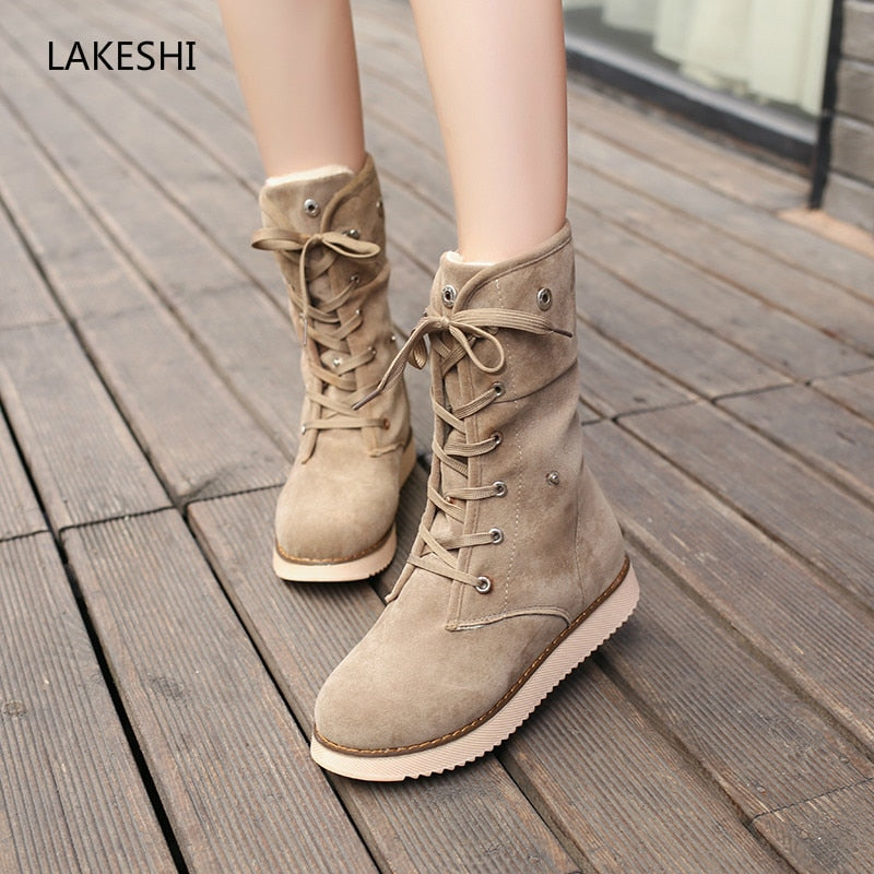 habazoo - Women Boots Fur Warm Snow Boots Female Suede Lace Up Ankle Boots Women Flat Shoes Women Bottes Winter Shoes - Habazoo -