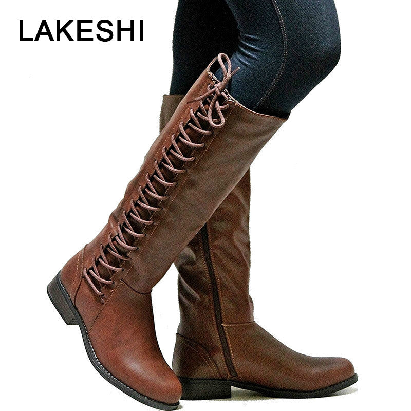habazoo - Ladies Warm Riding Boots Lace Up Flat Square Motorcycle Leather Boots - Habazoo -