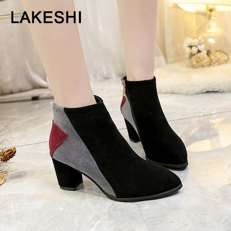 habazoo - Ankle Boots Women Autumn Boots Women Casual Shoes Comfortable Boots Zipper High Heels Boots Shoes Women Pumps - Habazoo -