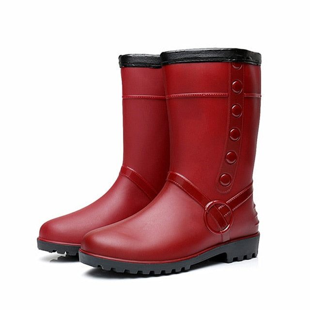 habazoo - Fashion Rain Boots Womens Non-slip Plush Keep Warm Snow Boots  Water Shoes New Long Boots Women Shoes - Habazoo -