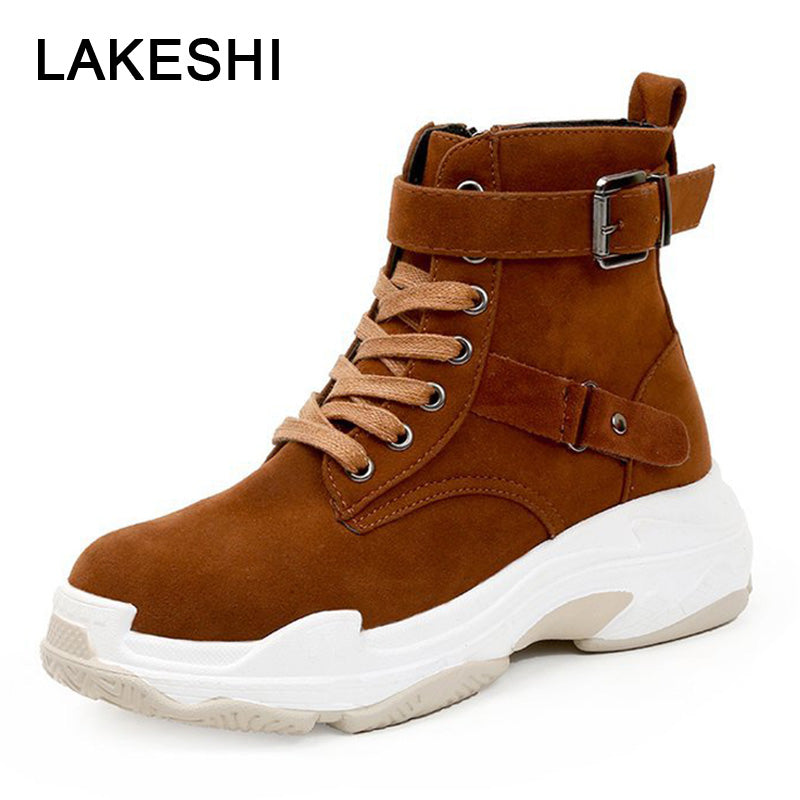 habazoo - Women Boots New Ankle Boots Women Shoes Lace Up Suede Boots Winter Platform Sneakers Women Casual Shoes - Habazoo -