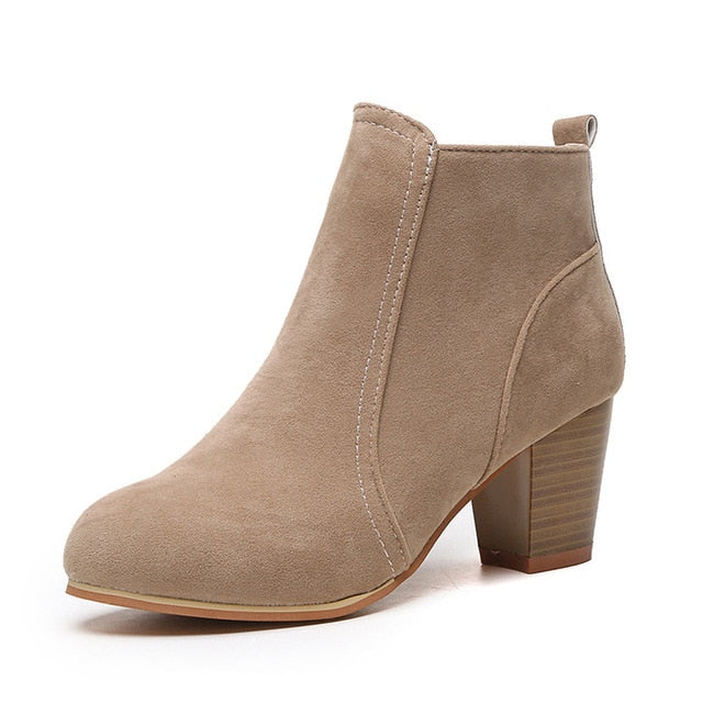 habazoo - High Heel Boots Women New Short Boots Platform Suede Ladies Shoes Ankle Boots Female Plus Size Women Heels Boots - Habazoo -