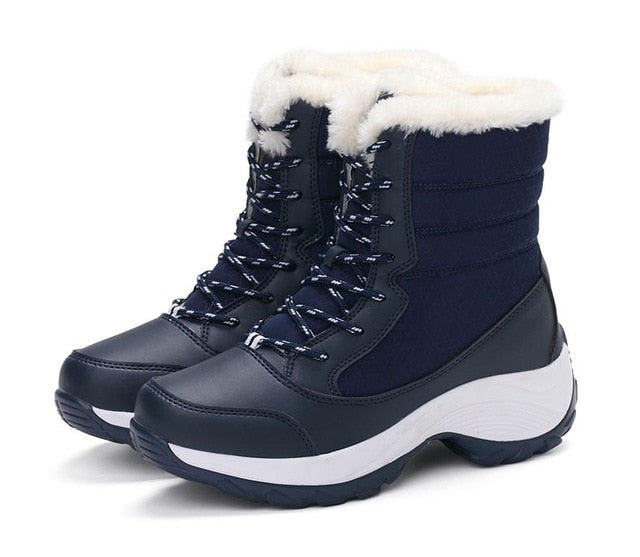 habazoo - New Women boots non-slip waterproof winter ankle snow boots women  warm Women shoes with thick fur botas mujer - Habazoo -