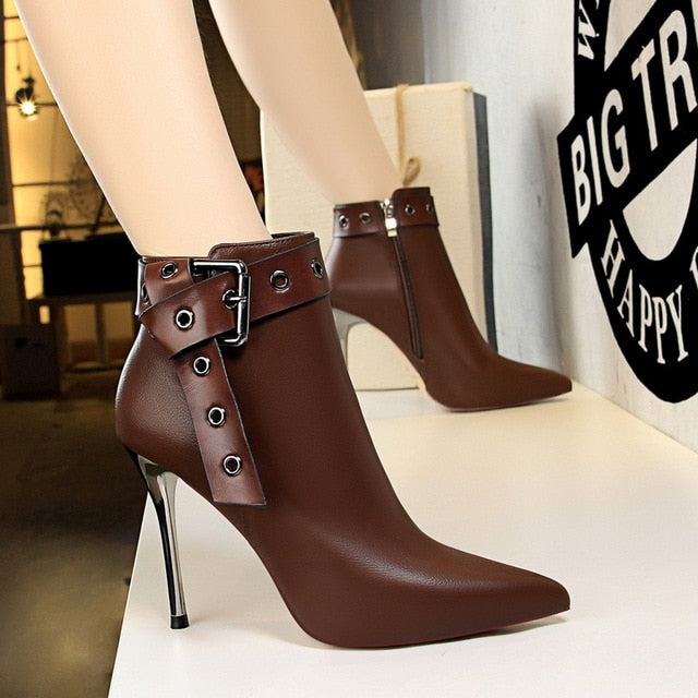 habazoo - Woman Boots High Heels Ankle Boots For Women Buckle Strap Sexy Pumps Women Shoes Fashion Short Winter Boots Women - Habazoo -