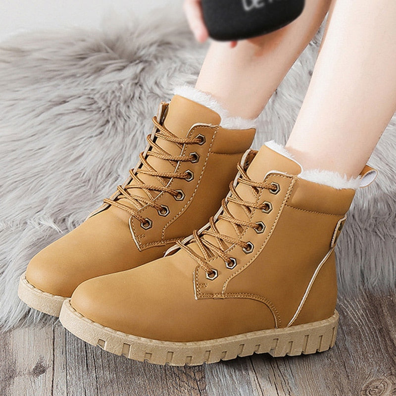 habazoo - Women Shoes Lace Up Flat Heel Shoes Keep Warm Women Boots Woman Ankle Boots Casual Shoes - Habazoo -