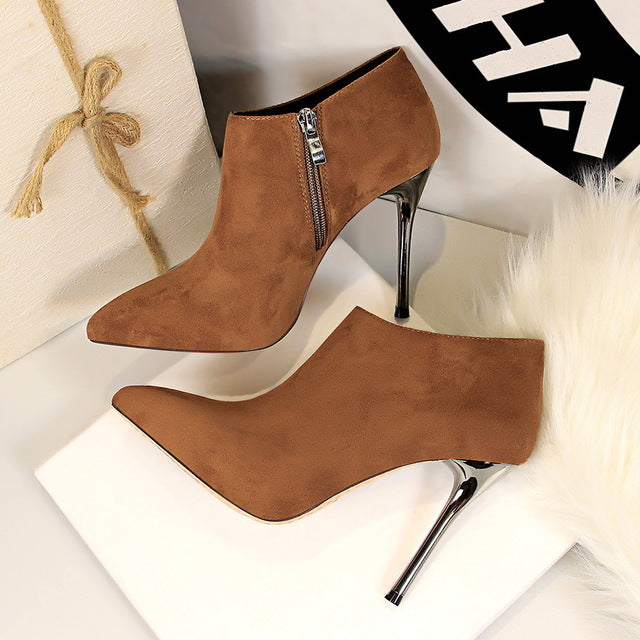 c0212138b Women Shoes High Heel Shoes Ankle Boots Women Fashion Short Boots Pointed  Toe Stiletto Sexy Wedding Shoes