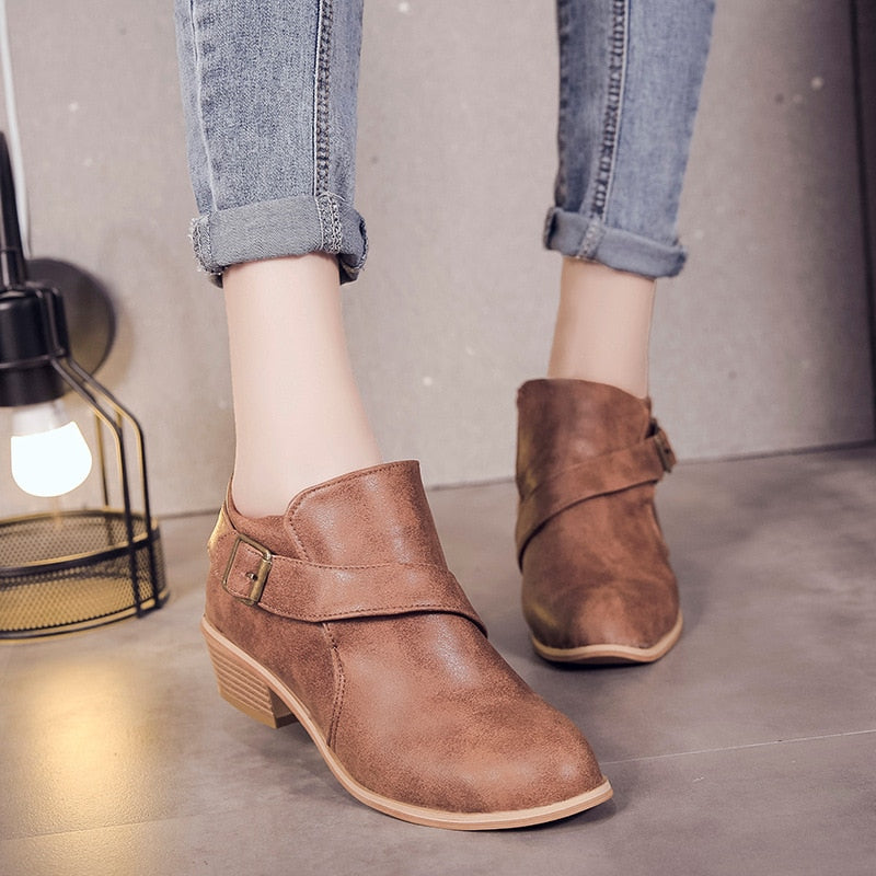 habazoo - Woman Shoes Round Toe Square Heel Ankle Boots Women Leather Single Shoes Solid Boots Women Autumn Casual Shoes Women's - Habazoo -
