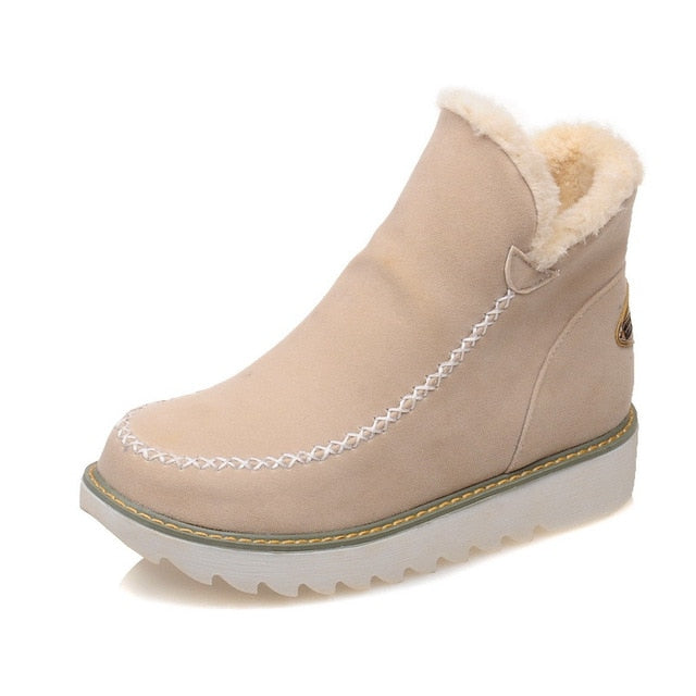 habazoo - Women Ankle Boots Casual Shoes Women Snow Boots Low Heel Warm Cotton Shoes Suede Winter Boots Female Warm Plush Boots - Habazoo -