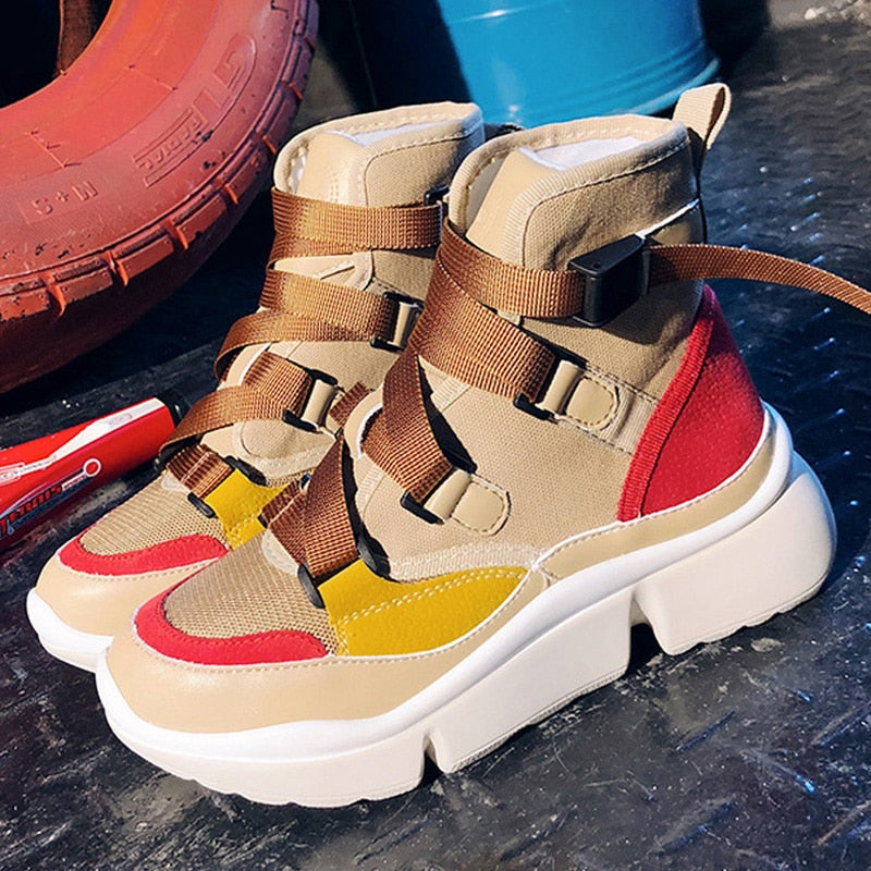 habazoo - Women Ankle Boots Sneakers Casual Shoes Cross-tied Slip On Platform Shoes Motorcycle Boots Winter Wedges Shoes Woman - Habazoo -