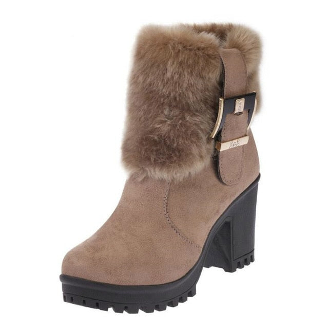 habazoo - Women Boots Winter Shoes Warm Suede Fur Ankle Boots Women's Snow Boots Round Toe Thick High Heel Boots Women Shoes - Habazoo -