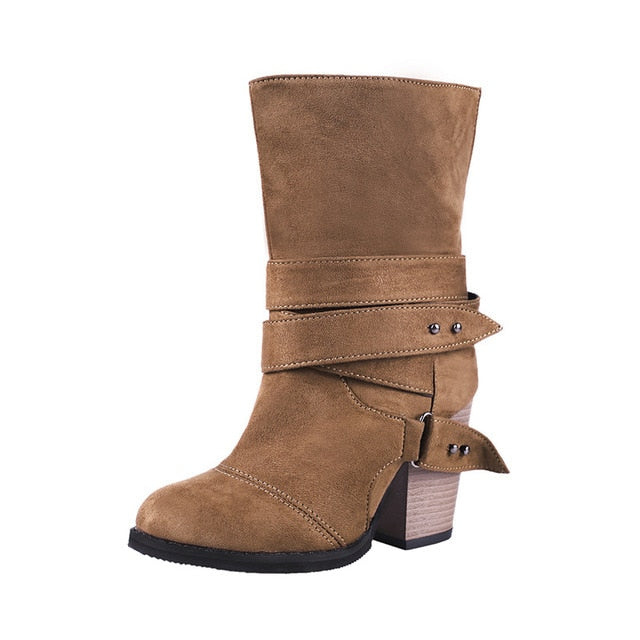 habazoo - Women Mid-calf Boots Women Shoes Fashion Suede Woman Boots Winter Boots Square Heels Female Boots Shoes Size 43 - Habazoo -