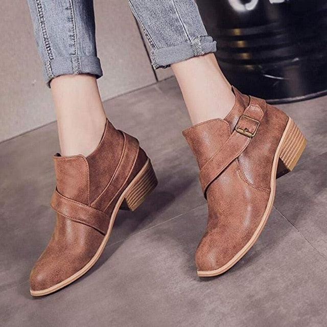 habazoo - Women boot Buckle Strap Ankle Boots women shoes fashion winter shoes women 2018 New Chelsea boots women high heels boots - Habazoo -