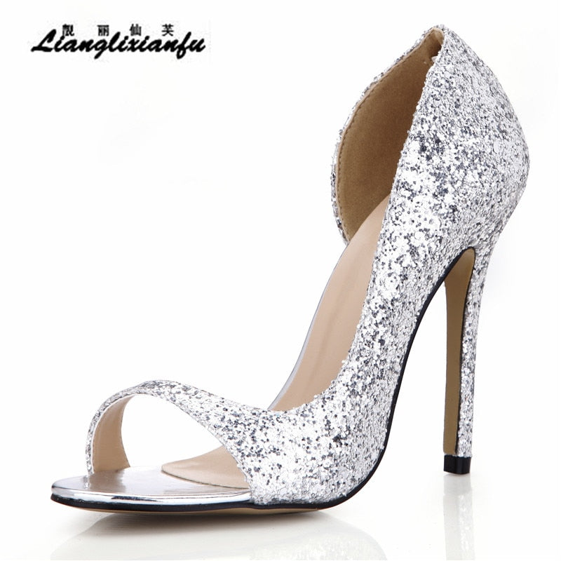 habazoo - Ladies Open Toe D'Orsay shoes woman 12cm thin heels Sandals female Gold Sliver Sequins Ankle strap Pumps - Habazoo -