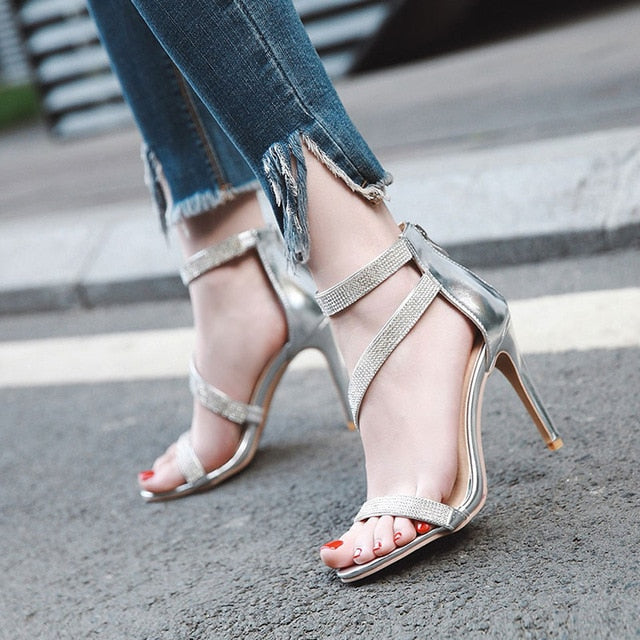 habazoo - High Heels Summer Shoes Sandals Women Ankle-Strap Open Toe Gladiator Crystal Heels Sandals Gold Silver Size34-43 - Habazoo -