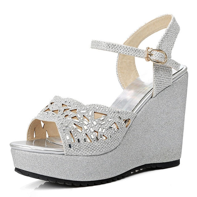 habazoo - Size 34-39 Woman Sandals Open Toe Fashion Platform High Heels Wedge Sandals Gold Silver Shoes - Habazoo -