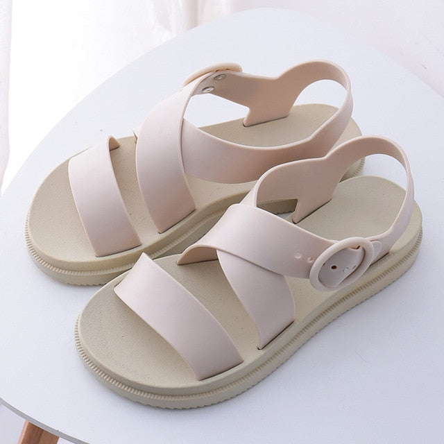 habazoo - MCCKLE Women Flat Sandals Gladiator Open Toe Buckle Soft Jelly Sandals Female Casual Summer Flat Platform For Girl Beach Shoes - Habazoo -