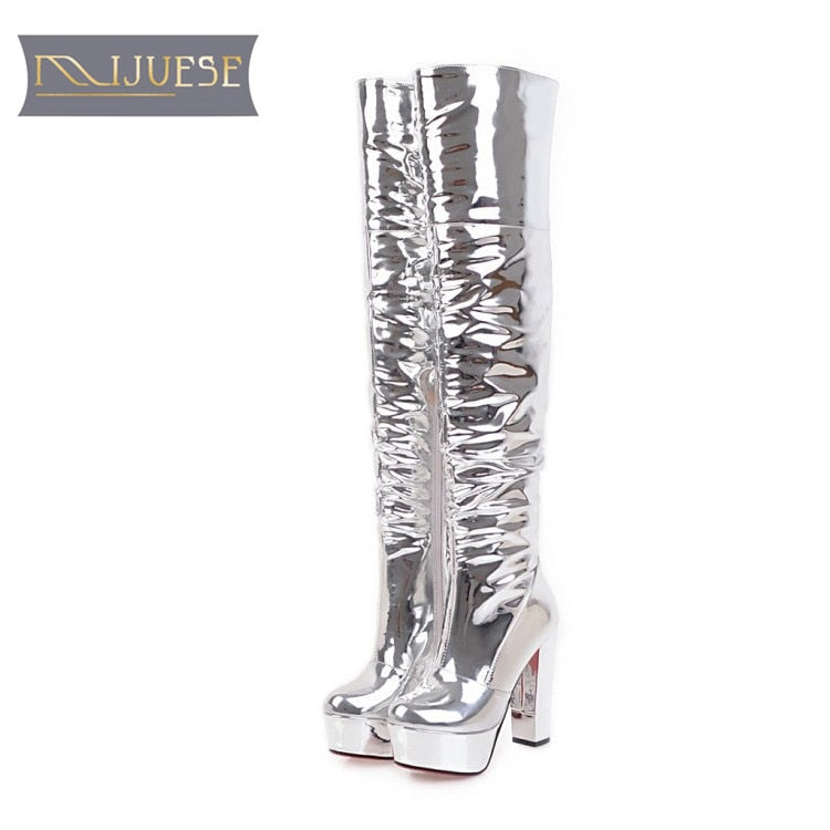 habazoo - MLJUESE 2018 women over the  knee high boots  silver color platform Hoof heels fashion nightlife  high  boots size 33-43 - Habazoo -
