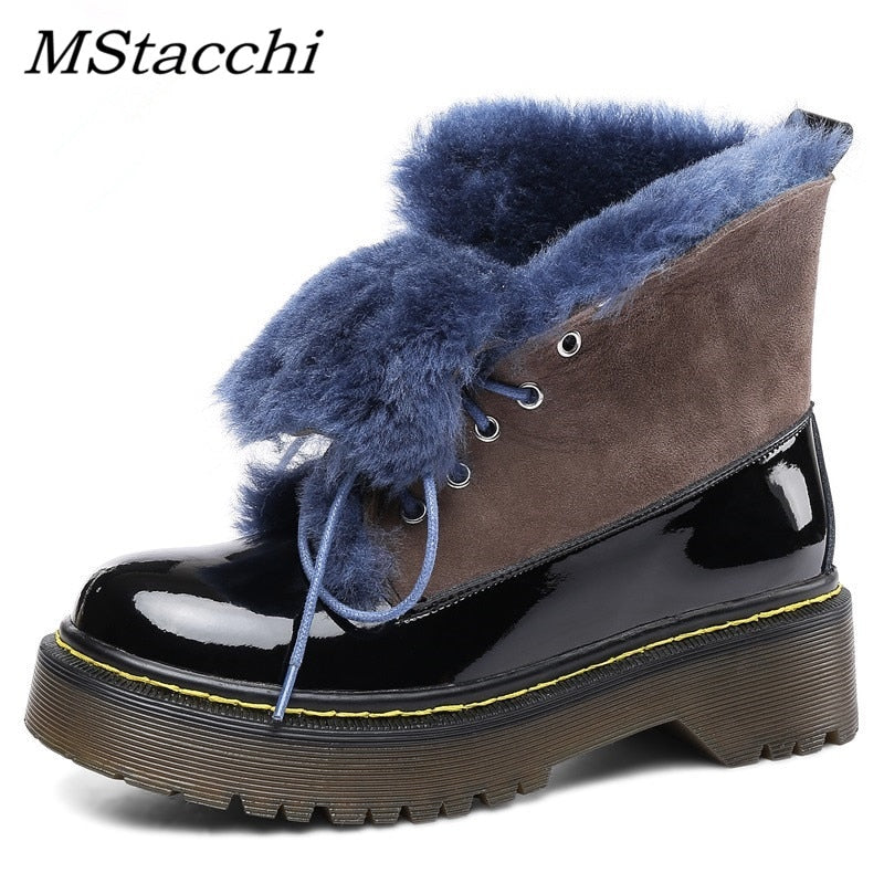 MStacchi Fashion Mixed Colors Fur Women Shoes Med Square  Heel Platform Lace-Up Snow Boots Geniune Leather Fur Warm Ankle Boots