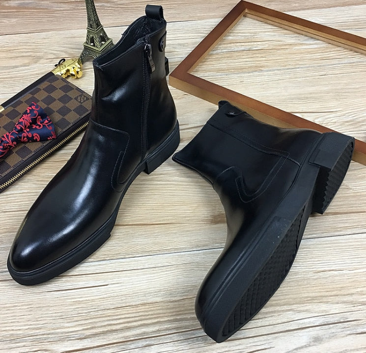 Men Pointed Toes Genuine Leather Comfortable Side Zipper Ankle Boots Black Thick Bottom Business Dress Shoes