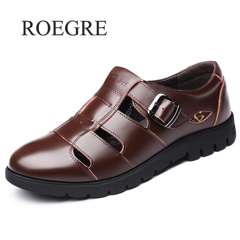 Men Sandals Genuine Leather Sandals Men Outdoor Casual Men Leather Sandals For Men Beach Shoes Roman Shoes Plus Size 38-47 - Habazoo