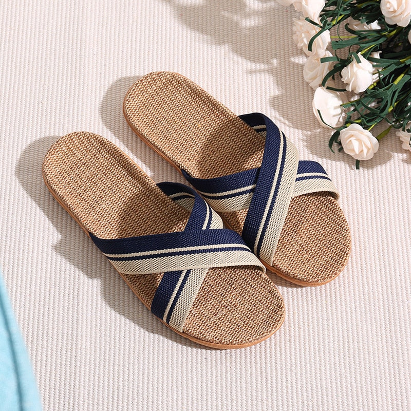 Men Slippers Sandals Flip Flops Fashion Breathable Hemp Non-slip Shoes Man Home Slides Striped Casual Female