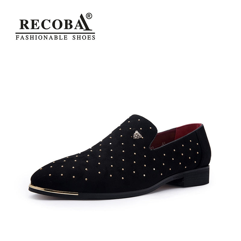 Men gold spike plus size black navy suede leather penny loafers moccasins slip ons boat shoes smoking wedding dress shoes - Habazoo