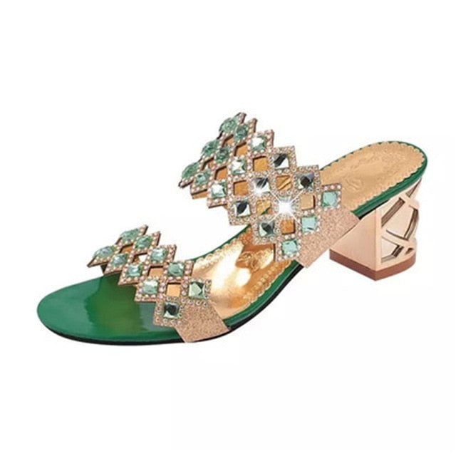 habazoo - Metal Square Heel Women Sandals Women Heel Shoes Gold Sliver Peep Toe Party Ladies Sandals Summer Sandals Woman Size 35-41 - Habazoo -