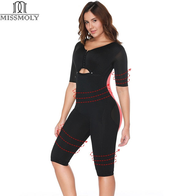 habazoo - Miss Moly Full Body Shaper Arm Slimmer Bodysuit Waist Cincher Trainer Thigh Reducer Tummy Slimming Control Shapewear Corset - Habazoo -