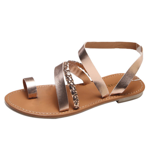 habazoo - Fashion Leather Strappy gladiator Sandals women Summer Ladies Dress shoes woman Beach Shoes Flat Sandals - Habazoo -