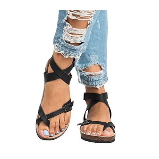 habazoo - women sandals fashion buckle women shoes women flat beach sandals black - Habazoo -
