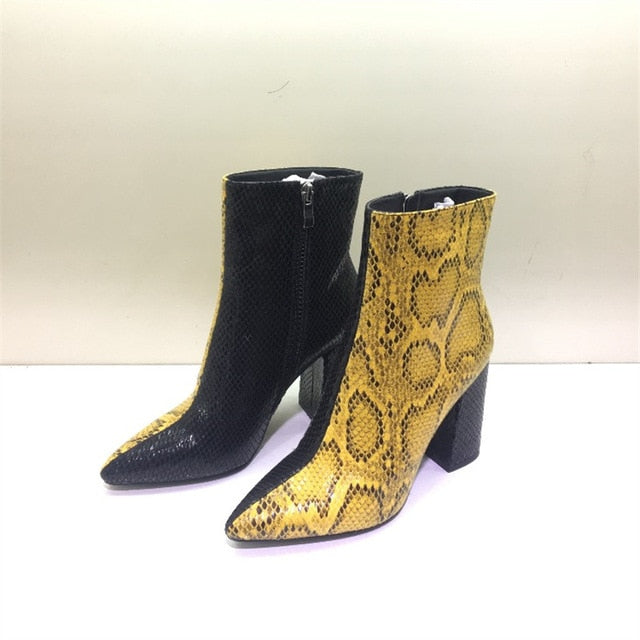 New Chelsea Boots 2019 Women Zipper Boots Snake Print Ankle Boots Square heel Fashion Pointed head Ladies Sexy shoes yellow32-43