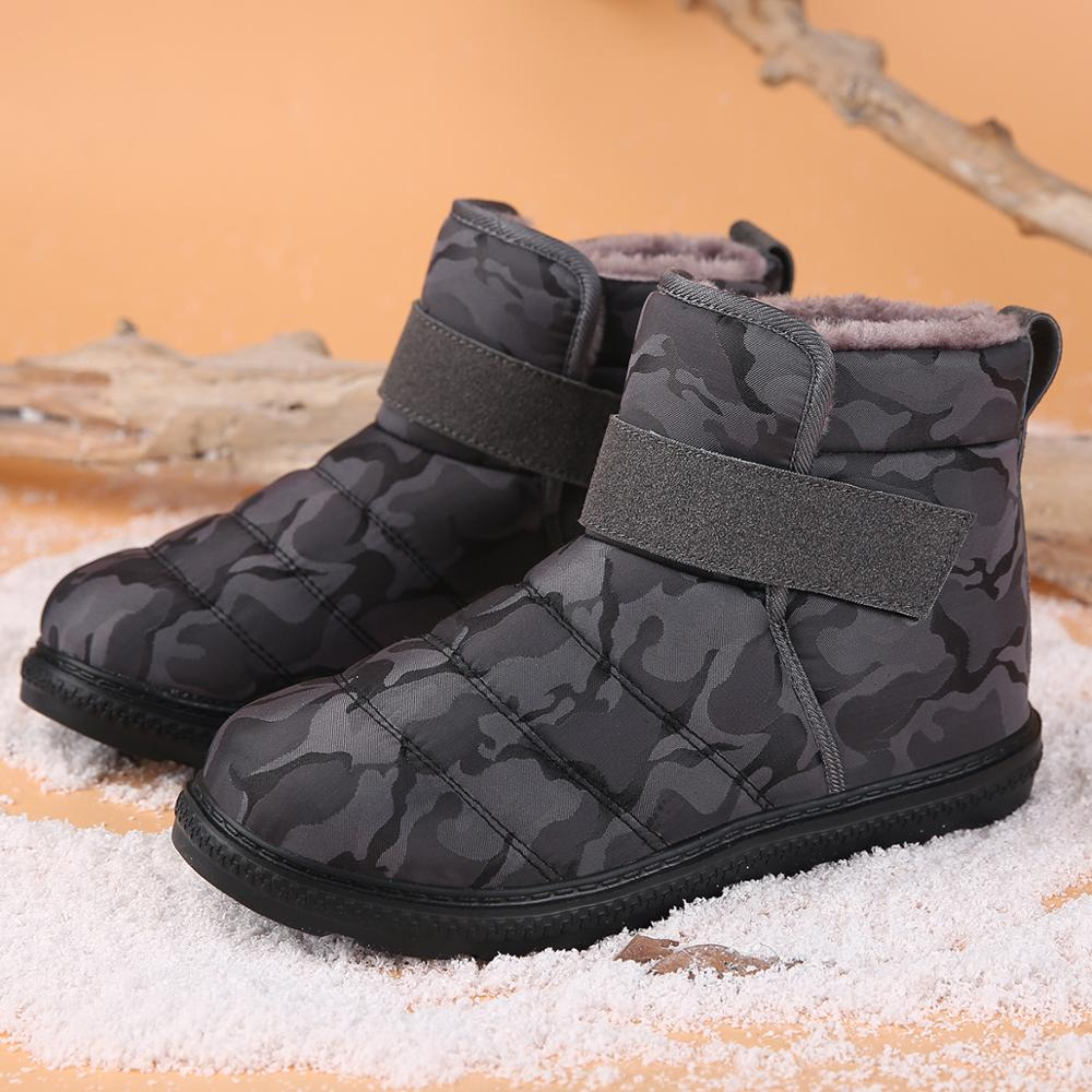 habazoo - New Fashion Men Boots High Quality Waterproof Non-slip Women Ankle Snow Boots Shoes Warm Fur Plush Hook & Loop Man Winter Shoes - Habazoo -