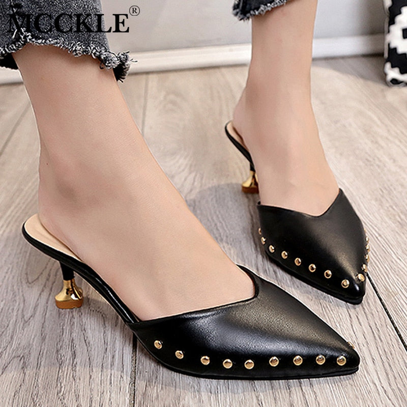 High Heels Ladies Rivets Pointed Toe Strange Style Female Outside Shoe