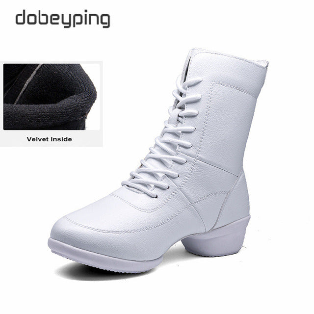 New Women Warm Boots Genuine Leather Autumn Winter Shoes Woman Round Toe Zip Women's Boots Low Heel Mid-Calf Female Dance Shoe