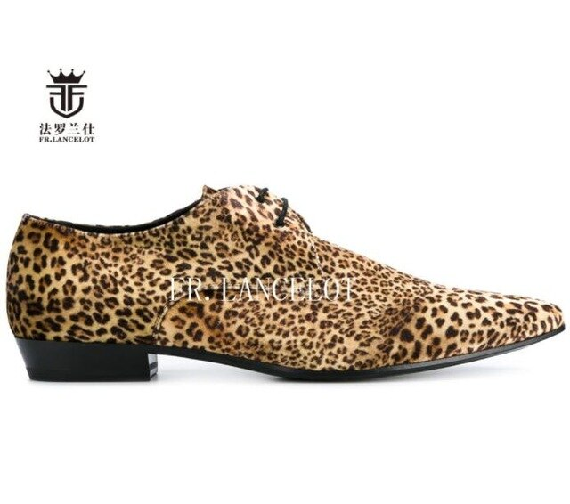 habazoo - New design FR.LANCELOT real leather shoe leopard print cow suede men casual shoes lace up flats fashion brand pointed toe shoes - Habazoo -