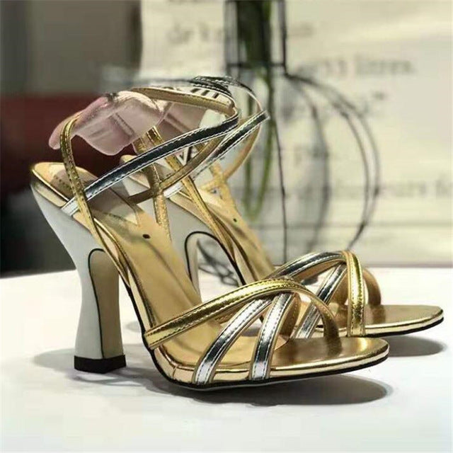 habazoo - New gold snakeskin Women Sandals open toe cross-tied Stilettos woman metal ankle strap high heel sandals Women Party shoes sexy - Habazoo -