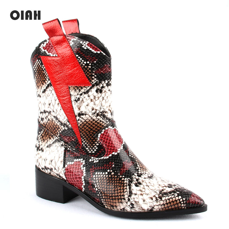 OIAH Motorcycle Boots For Women Winter 2019 Fashion Shoes Pointed Toe Slip On Ankle Boots Snake Skin Combat Boots Ladies Shoes