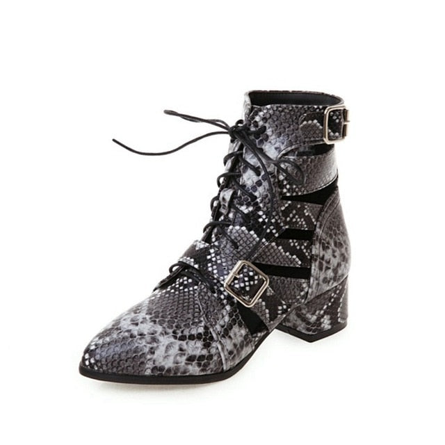 ORCHA LISA Woman shoes Western cut-out motorcycle boots faux snakeskin summer boots ankle strap med heels gray big size 44 45 46