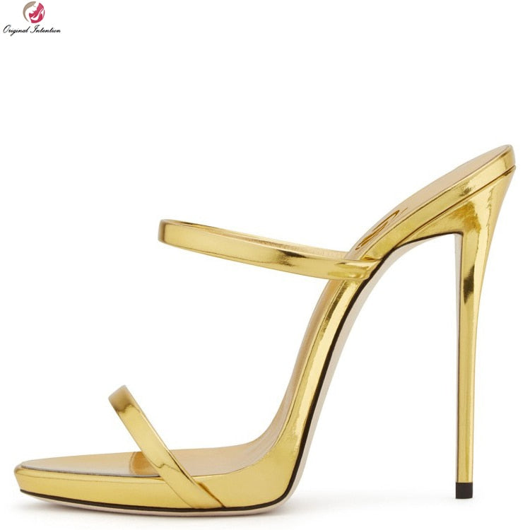 habazoo - Original Intention New Women Sandals Open Toe Thin Heels Sandals Sexy Gold Silver Nude Champagne Shoes Woman Plus US Size 3-10.5 - Habazoo -