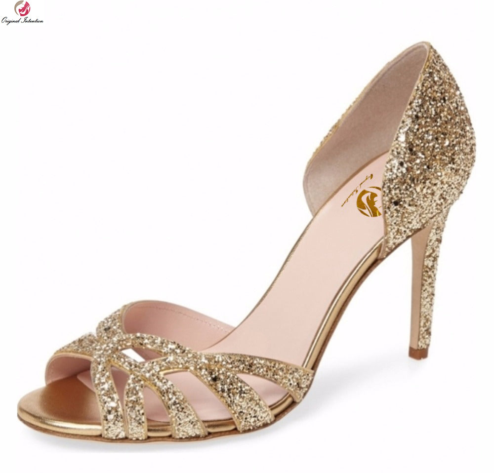 habazoo - Original Intention Popular Women Sandals Glitter Open Toe Thin Heels Sandals Elegant Gold Silver Shoes Woman Plus US Size 3-10.5 - Habazoo -