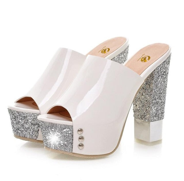 habazoo - Original Intention Sexy Women Pumps Open Toe Square Heels Pumps Glitter White Gold Green Rose Red Shoes Woman - Habazoo -