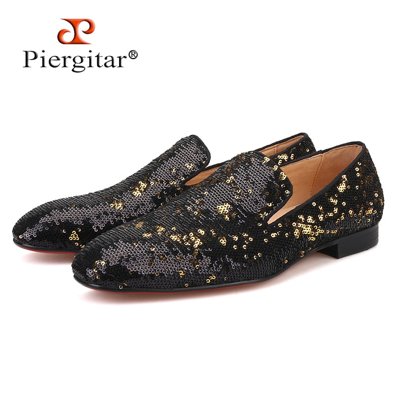 black gold colors luxurious sequins men loafers wedding and prom men's casual shoes red bottom smoking slippers