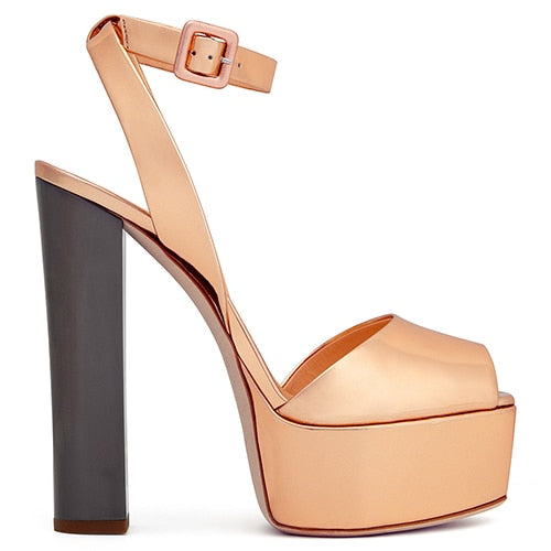 habazoo - Peep toe Platform High Heel Sandals for Women Shiny Patent Black Rose Gold Heels Chunky Heel Summer Shoes Glitter Sandals - Habazoo -