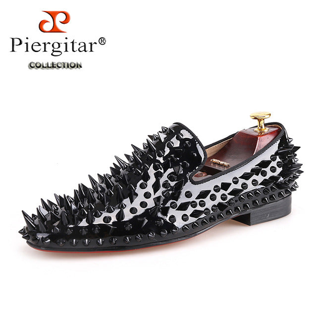 habazoo - black patent leather men handmade shoes with different shapes of spikes Fashion Party men loafers men's flats - Habazoo -