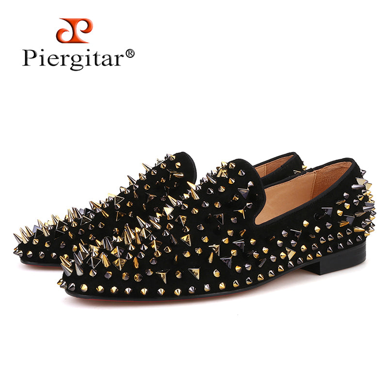 habazoo - men suede shoes with gold and black spikes Fashion party and banquet men loafers plus size smoking slipper - Habazoo -
