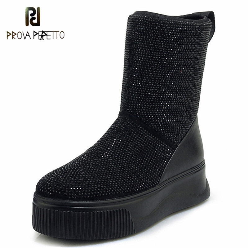 Prova Perfetto Woman Ladies Mid-calf Winter Keep Warm Snow Boots Platforms Casual Shoes Sexy Rhinestone Night Club Party Shoes