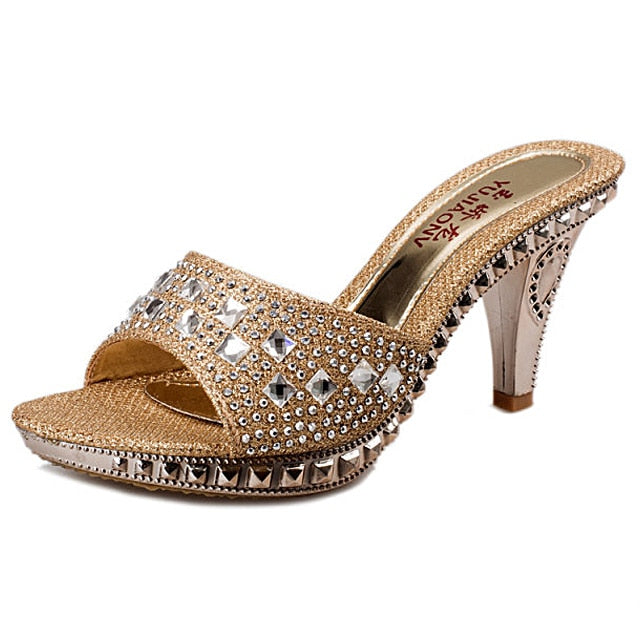 habazoo - Spike Heels Women Pumps Sexy High Heels Women Crystal Party Women Shoes Gold Open Toe Ladies Shoes - Habazoo -